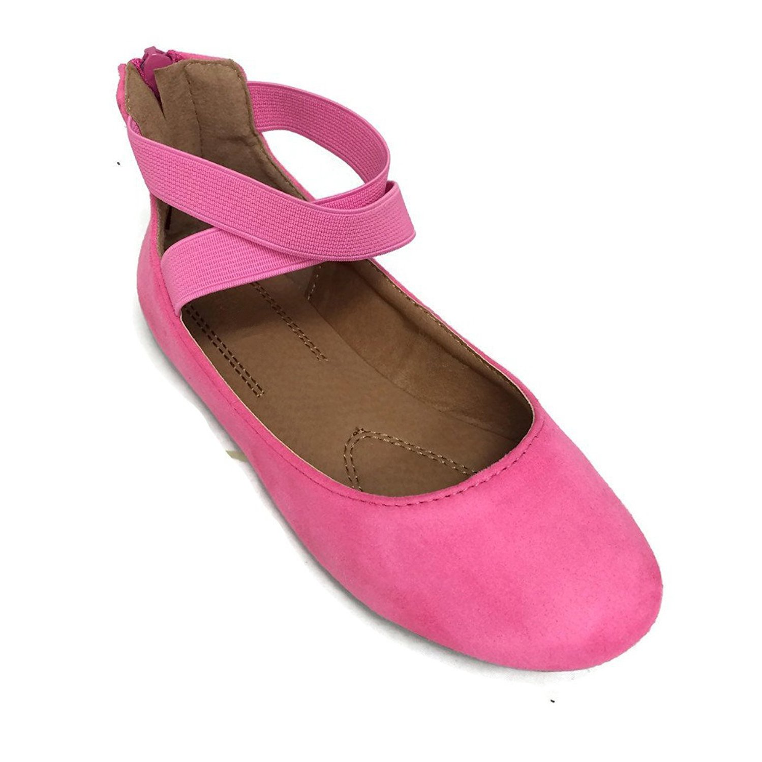 Anna Girl Kids Dress Ballet Flat Elastic Ankle Strap Comfortable Ballerina FUCHSIA Synthetic Suede Shoes 12 US Little Kid