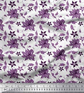 Soimoi Viola Crepe Poli Tessuto Foglie e Fiori Artistico Tessuto Decorato Stampato dal Metro 52 Pollici Larghi