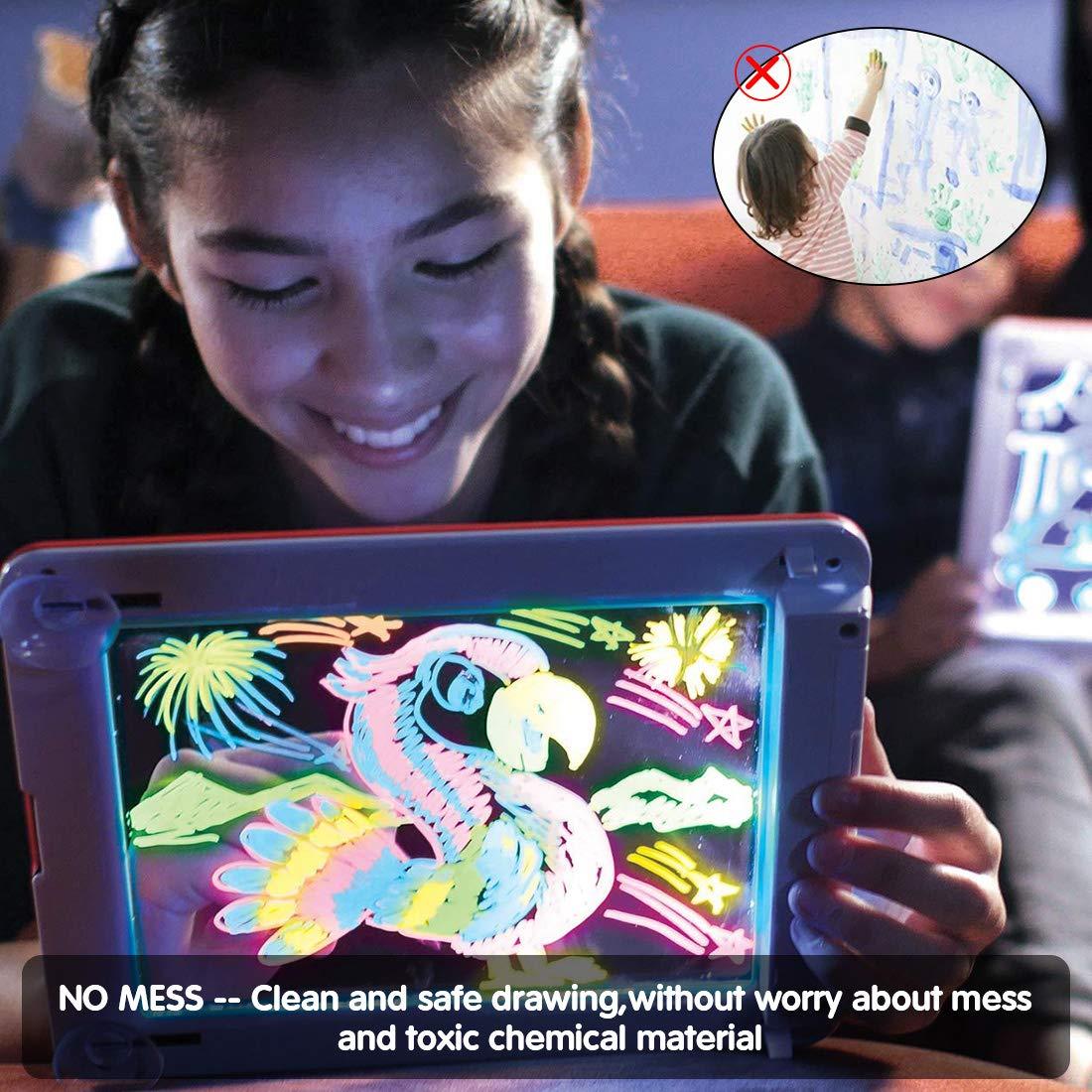 PHYLES Magic Pad Maltafel Zaubertafel Zeichnen mit leichtem Spielzeug für Kinder,Lernspielzeug und Geschenke, Zaubermaltafel Zeichenbrett Enthält 10 Schablonen, 4 Zeichenstifte,1 Reinigungstuch(Rosa)