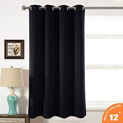 AMAZLINEN Toxic Free Energy Smart Thermal Insulated Curtains Blackout Black 52 W X 63 L Inch