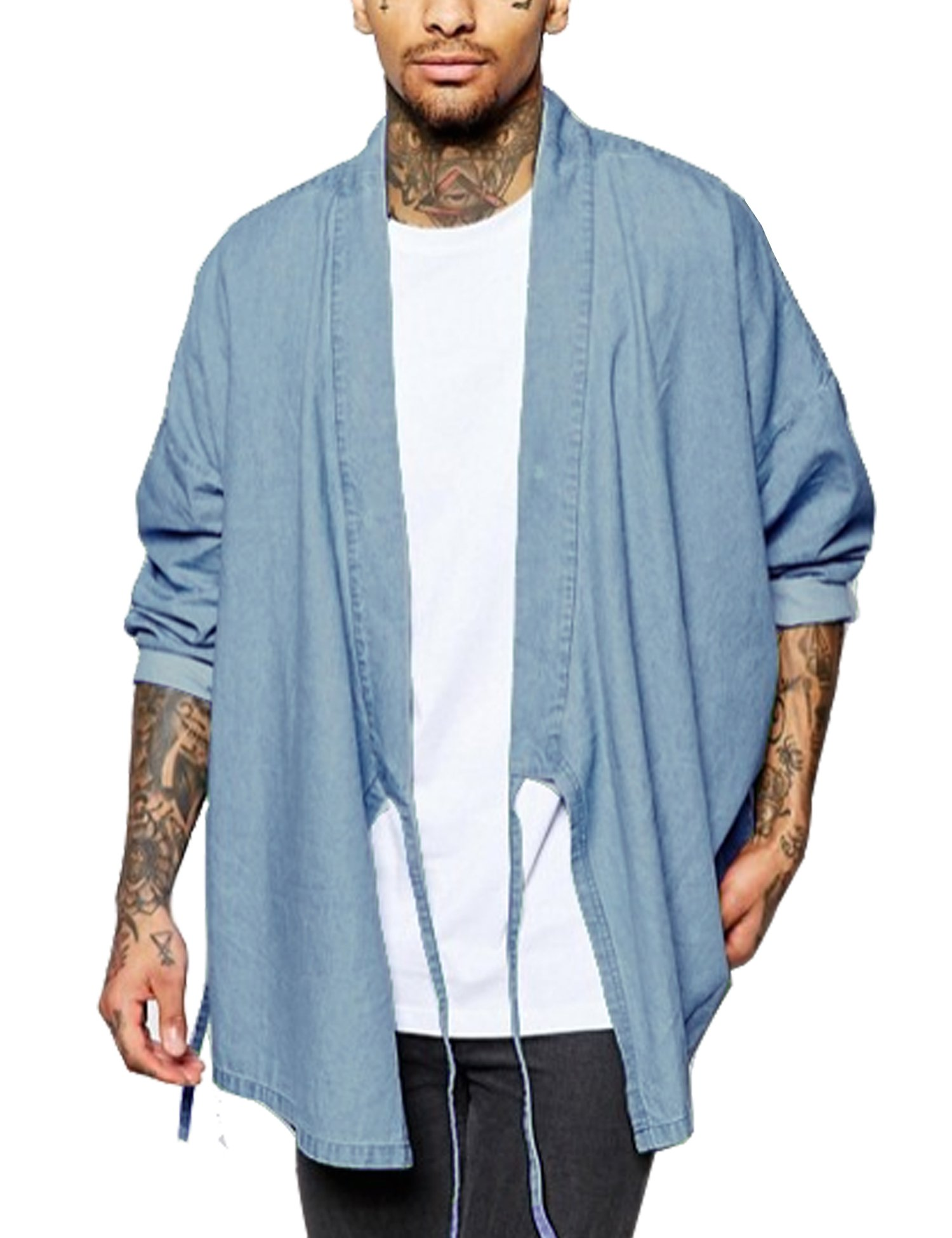COOFANDY Mens Kimono Casual Long Sleeve Loose Fit Denium Open Front Coat Cloak,Light Blue,Medium by COOFANDY