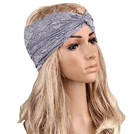 Tonsee Women Lace Retro Turban Twist Head Wrap Headband Headscarf (Grey) 860940c94de