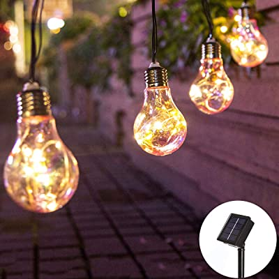 Elnsivo Color Fairy String Lights Solar Operated 10Bulbs Decorative Light Chain Hanging Lighting for Indoor/Outdoor Home, Garden, Xmas Tree, Party, Wedding, Festival, Patio(Solar Color Bulb String Lights) : Garden & Outdoor