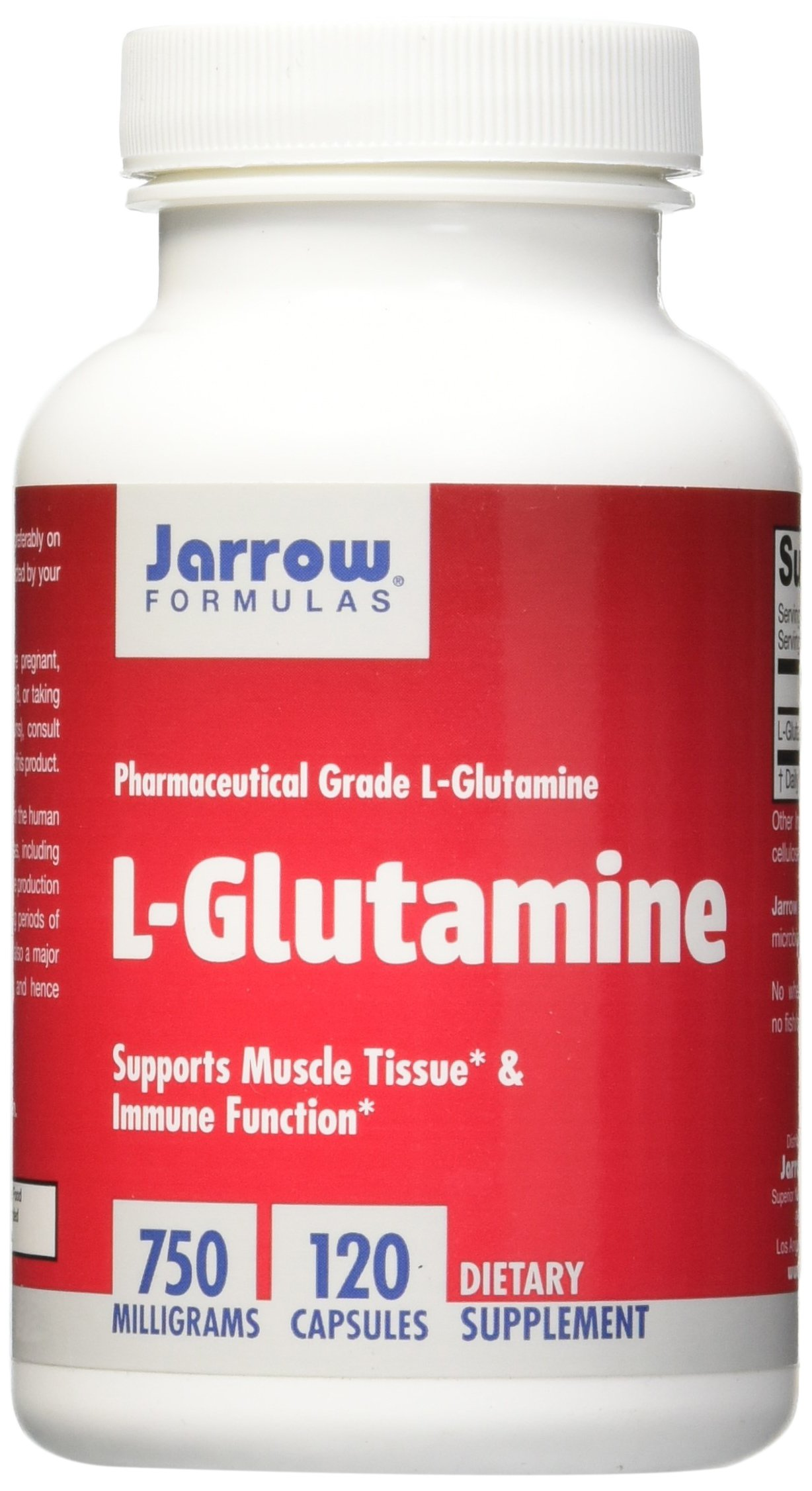Jarrow Formulas L-Glutamine 750 mg, Supports Muscle Tissue & Immune Function, 120 Caps