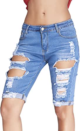 Dokotoo Womens Casual Denim Destroyed Bermuda Shorts Jeans XX-Large Blue