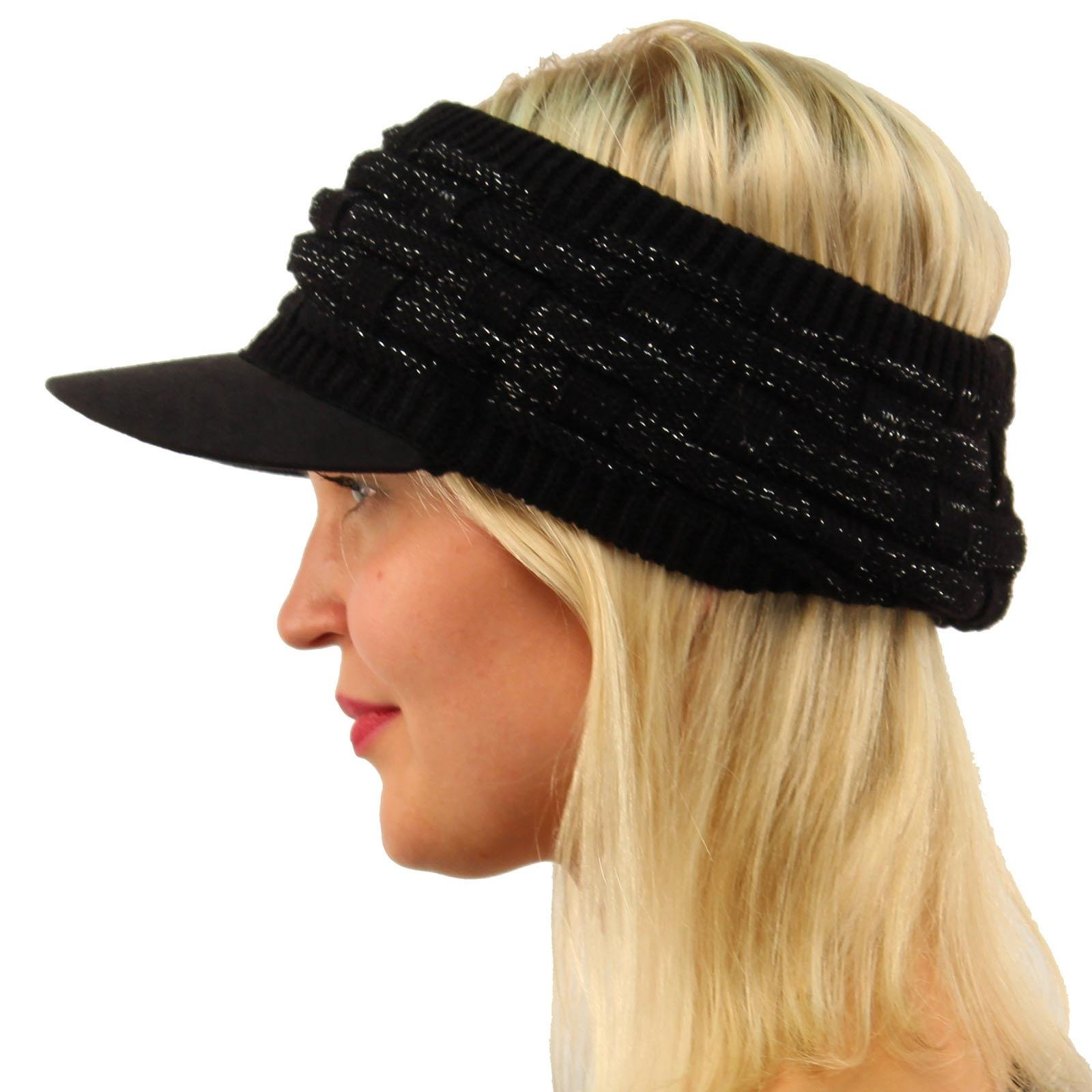 Winter Open Top 2ply Thick Knit Headband Faux Suede Visor Beanie Hat Cap Black