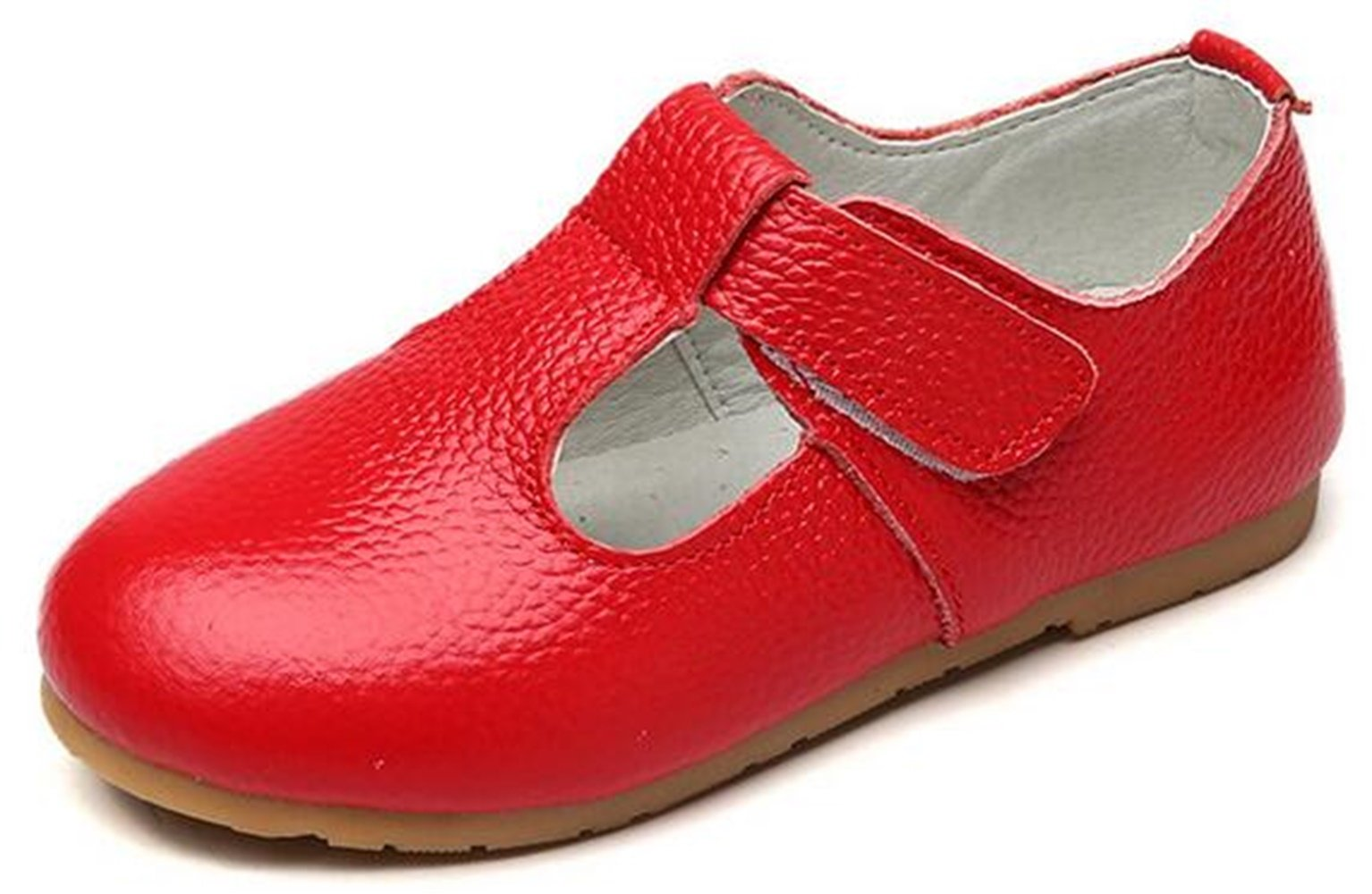 PPXID Girl's Sweet Soft Leather Oxford Shoes-Red 13 US Size