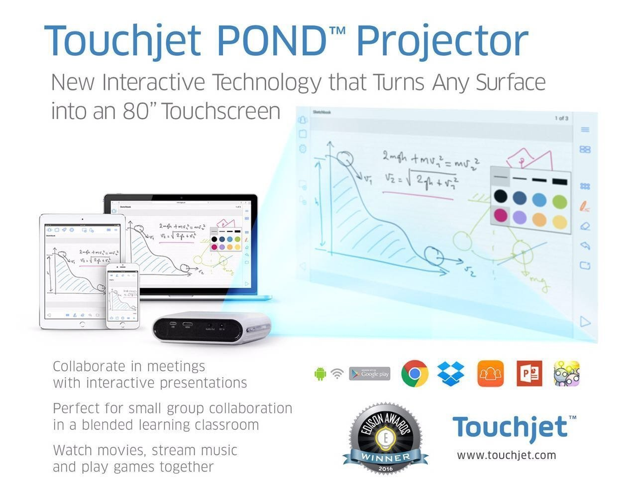 Touchjet Pond Proyector pantalla táctil inteligente HD WiFi ...
