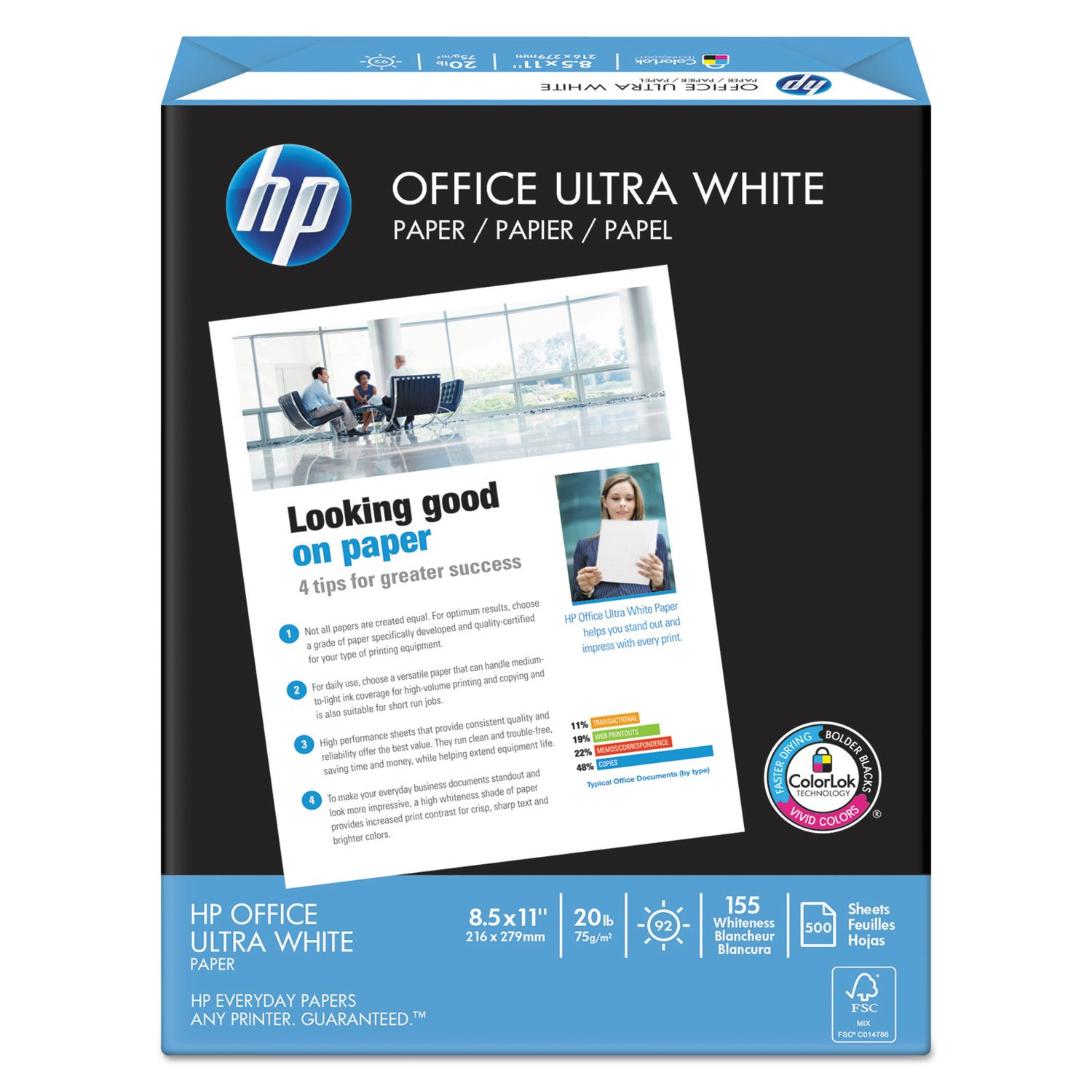HP Printer Paper, Office20 Paper, 8.5 x 11, Letter Size, 20lb, 92 Bright, 10 Ream Case / 5,000 Sheets (112101C) Acid Free Paper