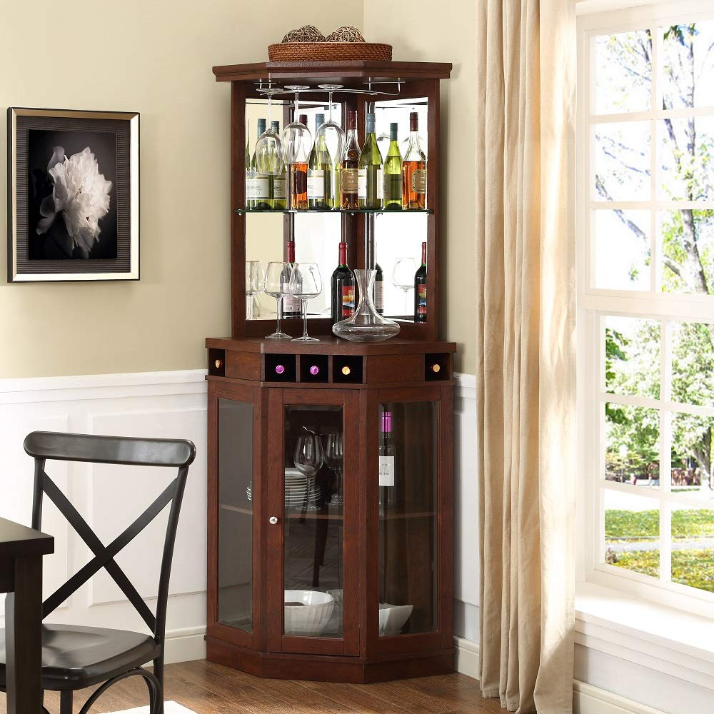 Corner Arms Bar with Wine Storage (Mahogany) by Red Barrel Studio