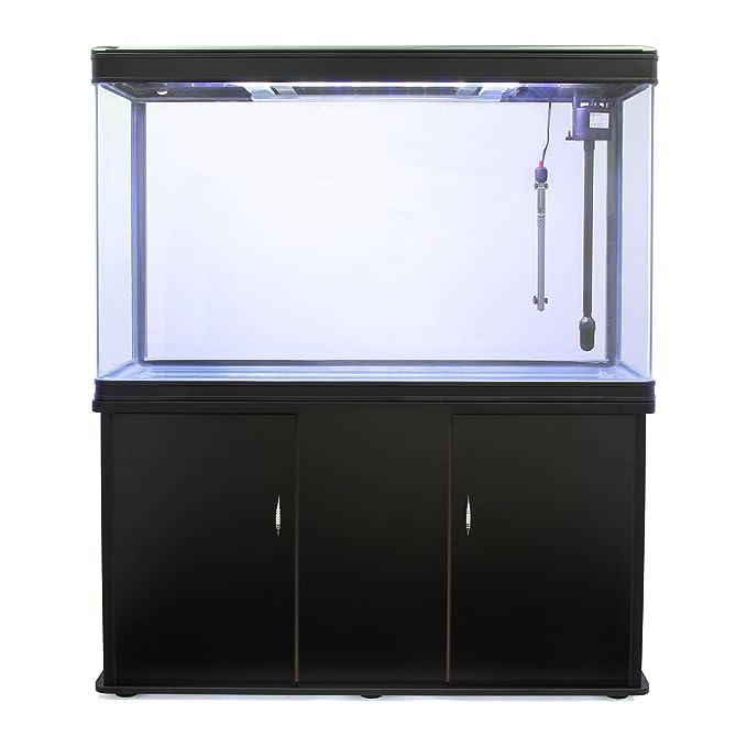 MonsterShop - Acuario 300 litros con Armario Negro, Luz LED y Visión de 180 Grados: Amazon.es: Hogar