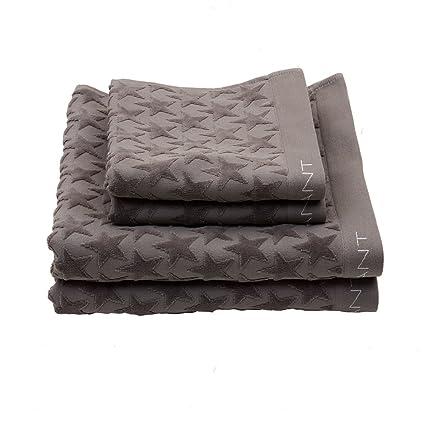 GANT Home terciopelo Star Toalla de ducha, 100 % algodón, stone grey, 70