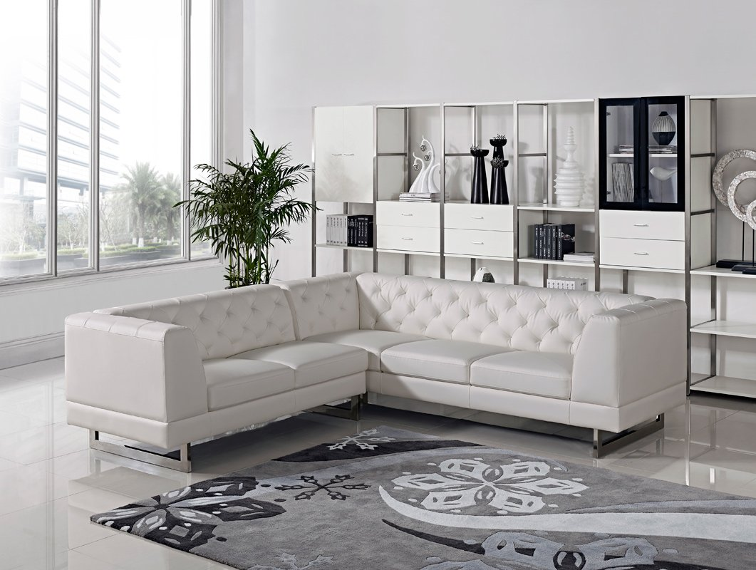 Amazon.com: Divani Casa Windsor Modern Leatherette Sectional ...