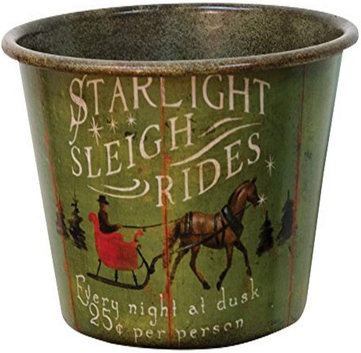 "CWI Gifts 4"" X 6.5"" Starlight Sleigh Rides Vintage Tin Bowl"