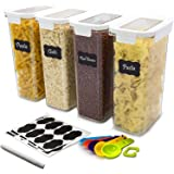 DDF iohEF 4 Packs Food Storage Containers Set, 2.3L / 78 oz Airtight Cereal Containers, BPA Free Plastic, for Kitchen Pantry