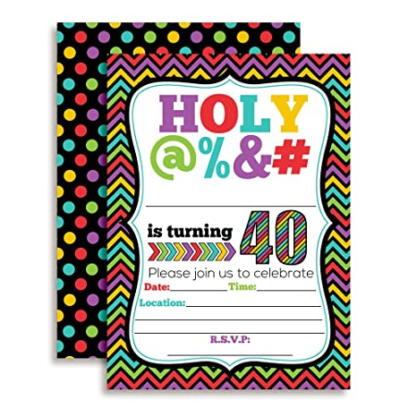"Amazon.com: HOLY @% 40th Birthday Party Invitations, 20 Funny 5""x7"" Fill In Cards with Twenty White Envelopes for Milestone Birthdays by AmandaCreation: ..."
