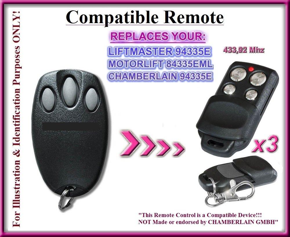 3 X Chamberlain 94335E Replacement Remote Control 1A5639-8 Compatible Télécommandes, 3 canaux 433,92Mhz rolling code remplacement. 3 Emetteurs de haute qualité pour LE MEILLEUR PRIX!!!! Chamberlain compatible remote