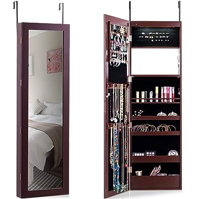 COSTWAY Armoire à Bijoux Mural avec Miroir et LED Armoire de ...