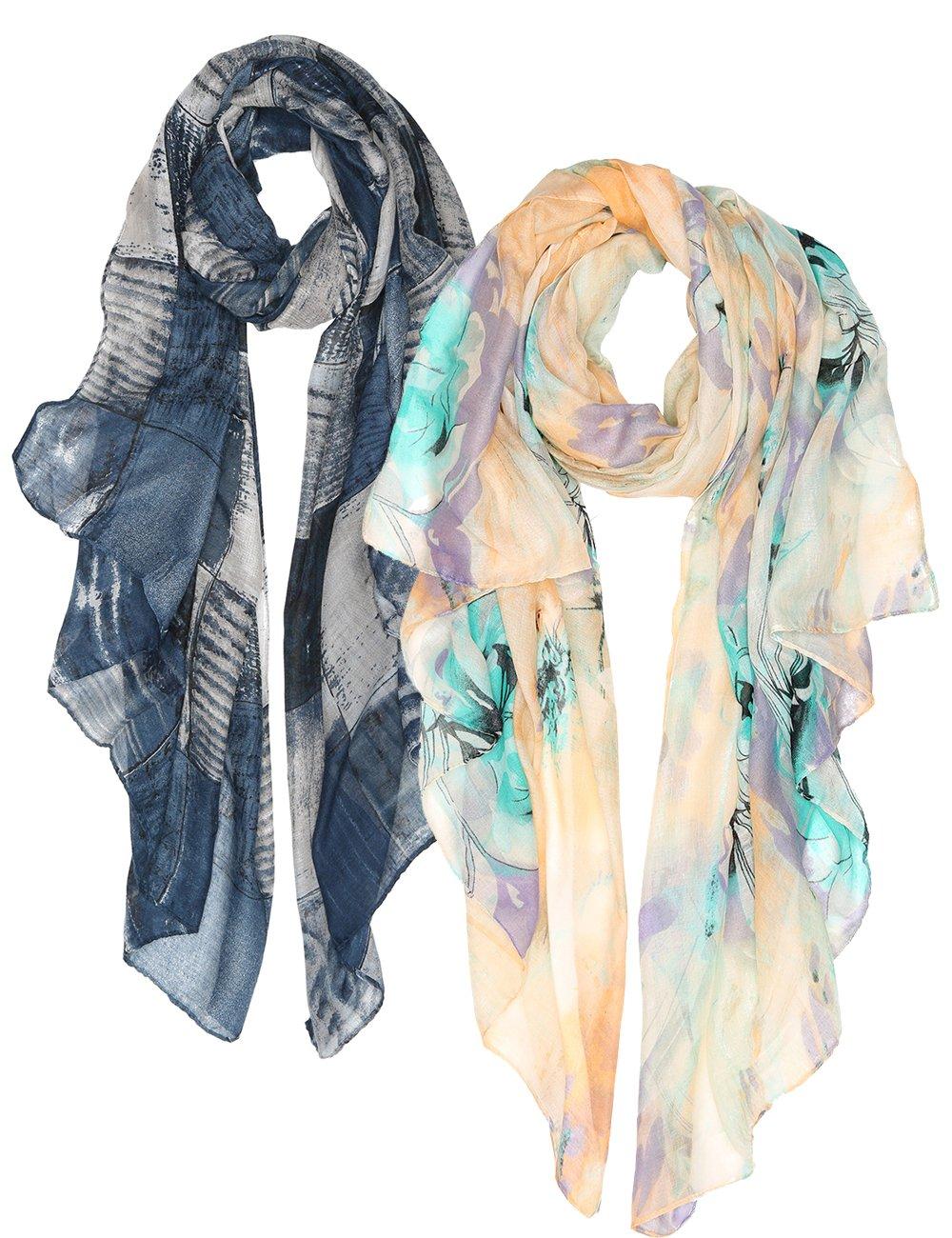 Women Lightweight Fashion Spring Scarves Shawl Wraps (2PACK-212)