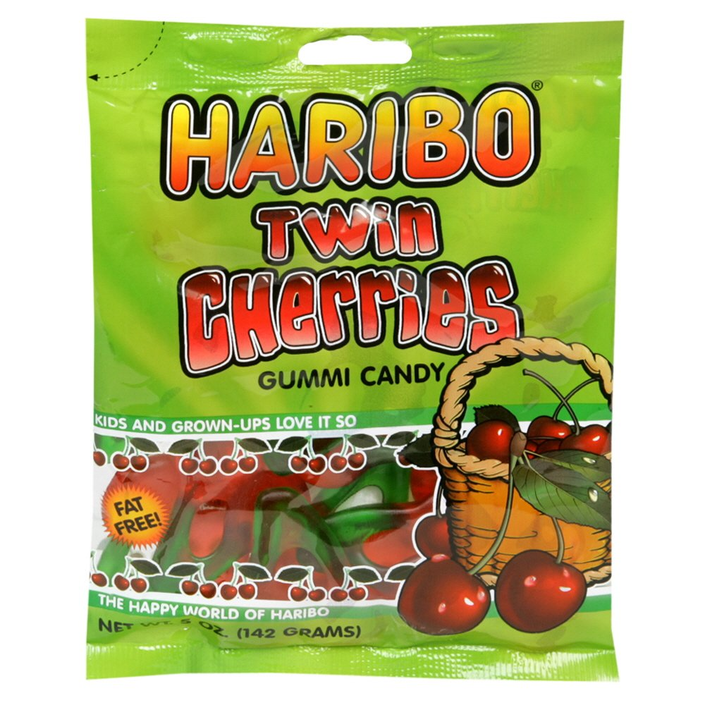 Haribo Gummi Candy Twin Cherries, 5-ounces (Pack of12)