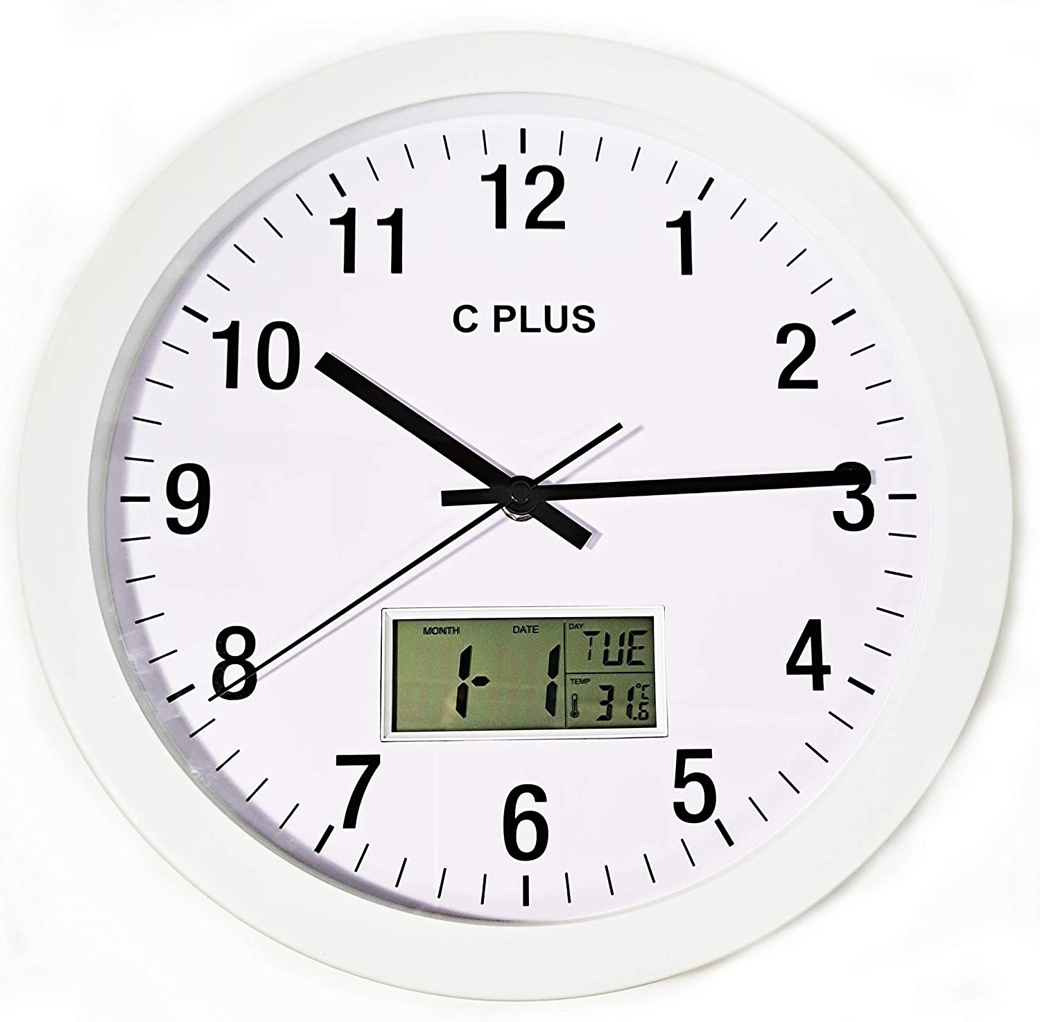 C Plus Wall Clock Non Ticking Silent Battery Operated 12 Inch Quiet Sweep Quartz Movement Modern Home Decor With Temperature Date Time Week Large Numbers Easy To Read Round Room Thermometer