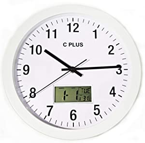 C PLUS Wall Clock Non Ticking Silent Battery Operated 12 Inch Quiet Sweep Quartz Movement Modern Home Decor with Temperature Date Time Week Large Numbers Easy to Read Room Thermometer Metal, White