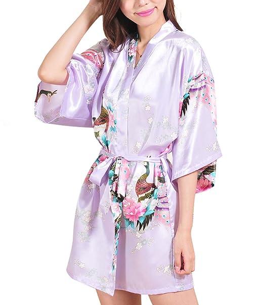 faybox Novia Mujeres Corto Kimono Túnica Dama Pavo Real y Flores Manchas Seda Ropa de Dormir: Amazon.es: Ropa y accesorios
