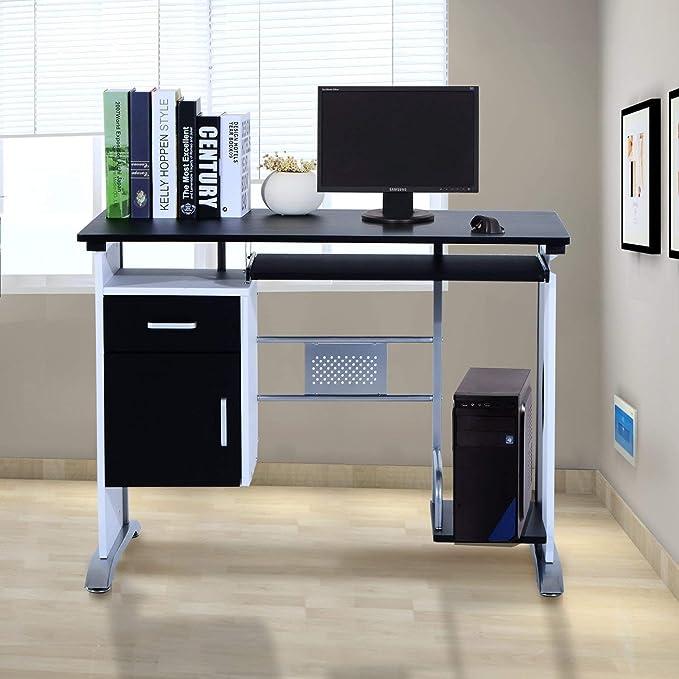 Mesa de Ordenador PC Despacho Escritorio 100x52x75cm Oficina ...
