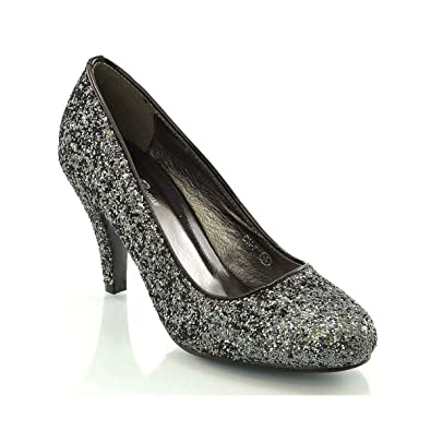 d9c766a4a9 ESSEX GLAM Women's Bridal wedding Low Heel Sparkly Prom Party Court Shoes,  Black Glitter,