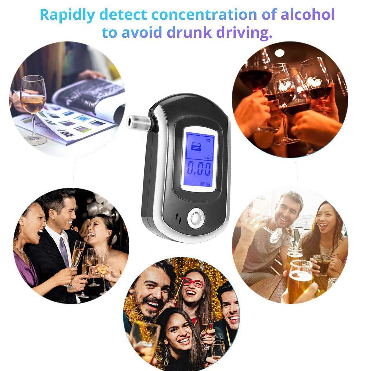 /Portable Digital Breath testeur dalcool avec Lot de 6/Embouts Buccaux; /écran LCD 3/Piles AAA LoiStu testeur dalcool/ Non incluses Fond Bleu Clair Besoin de Vous Lire la Nuit