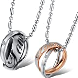 YELLOW CHIMES Love Engraved Ring Style Two Piece Couple Pendant Pair for Girls and Boys
