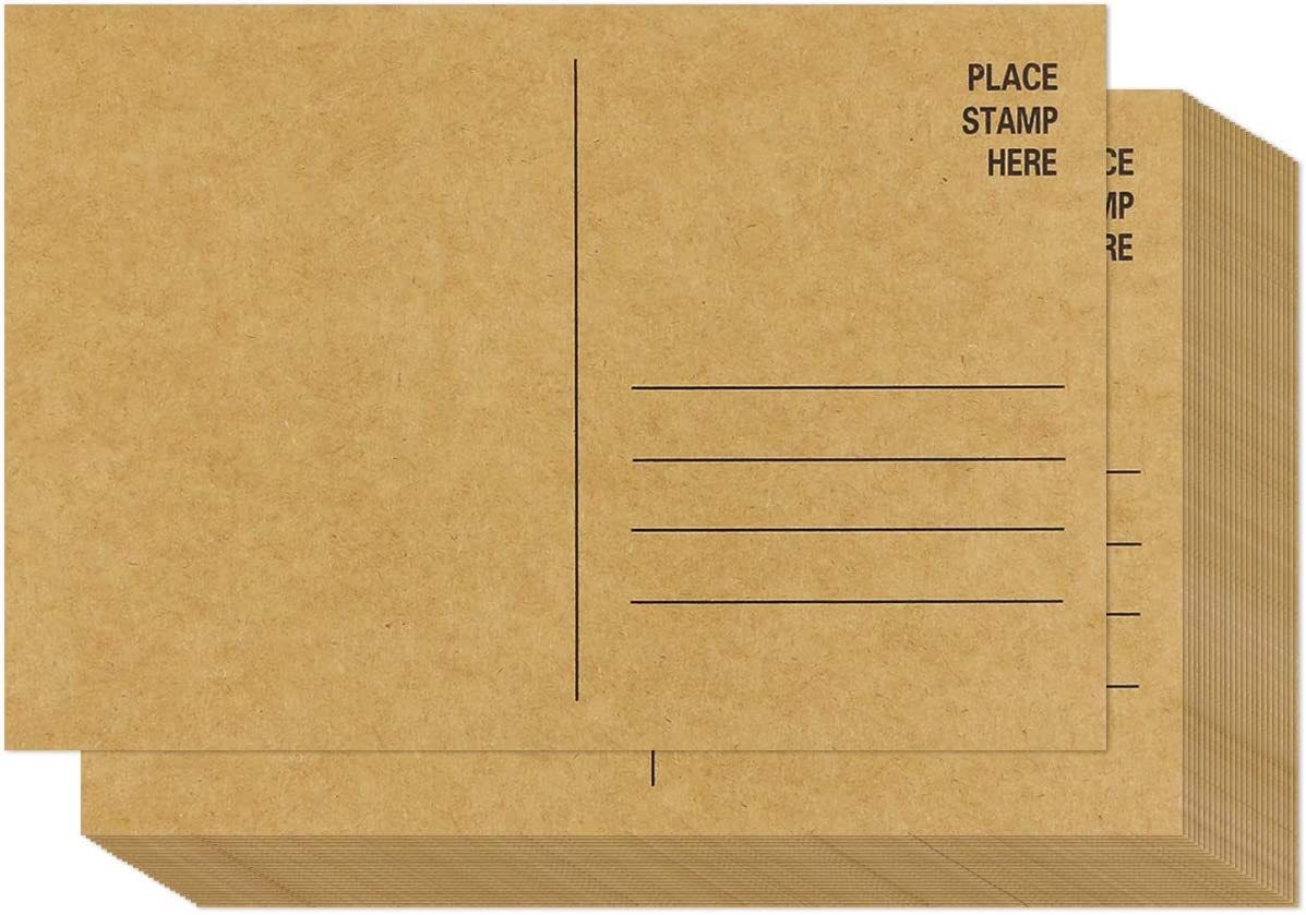 Weoxpr 64 Pack Blank Brown Kraft Paper Postcards with Mailing Side 4 x 6 Inches Printable DIY Post Cards Heavy Duty Blank Mailable Postcards