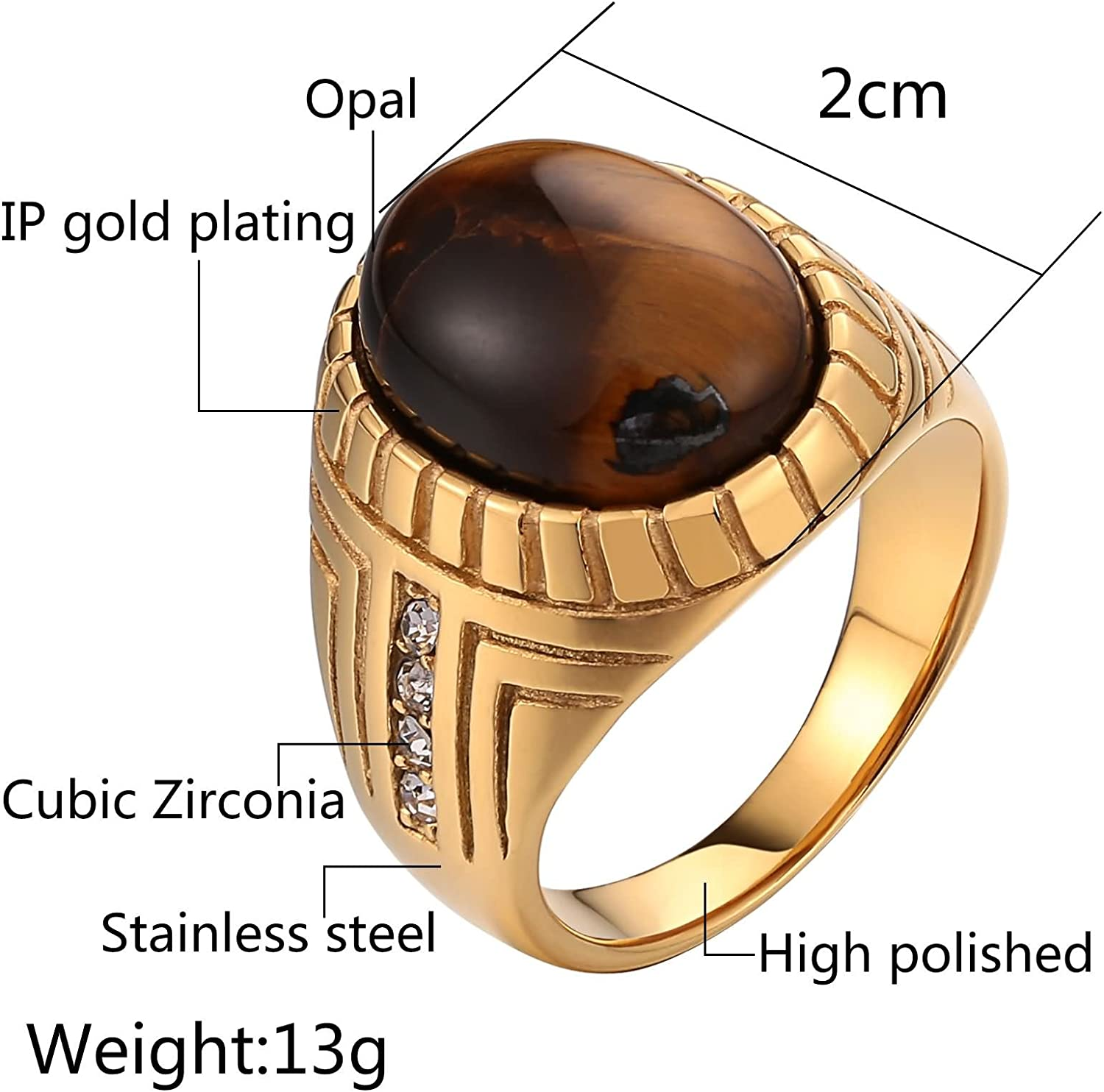 Bishilin Stainless Steel Ring Vintage 2CM Oval Opal White Cubic Zirconia Wedding Ring Men