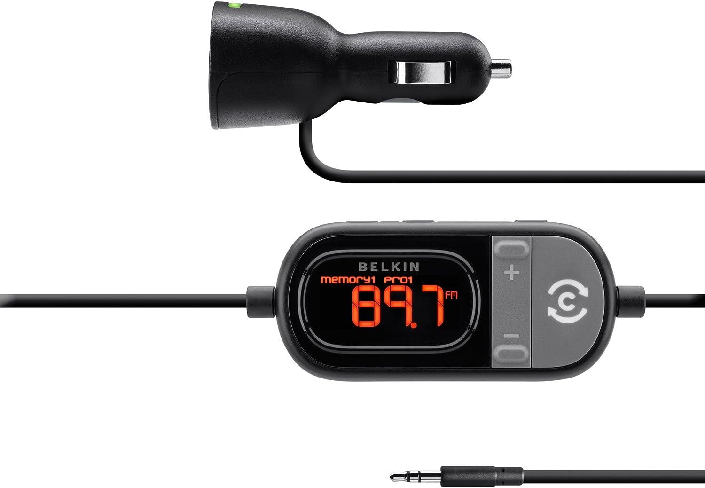 Black Belkin TuneCast in-Car 3.5mm Aux Audio to FM Transmitter