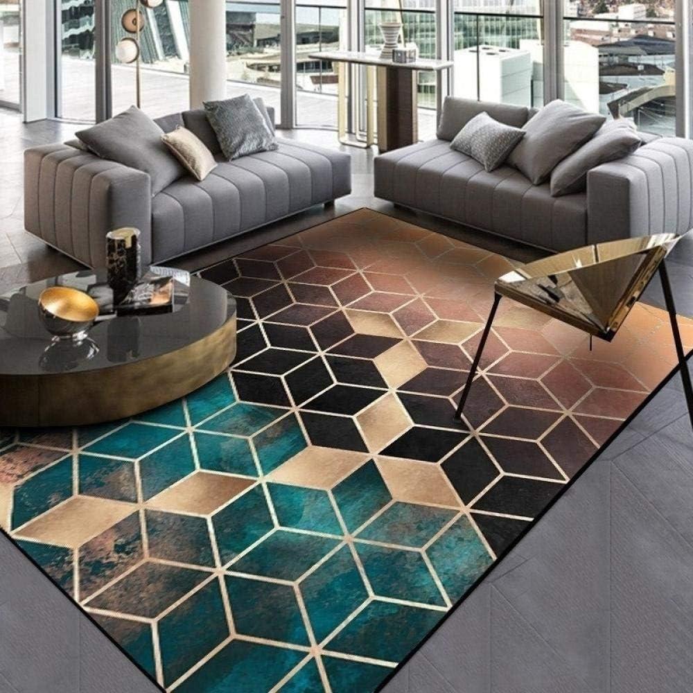 Simple Carpet Bedroom Living Room Room Bedside Blanket Sofa Coffee Table Rugs Mat Personality Graffiti Boy Geometric Decoration 80cm*120cm