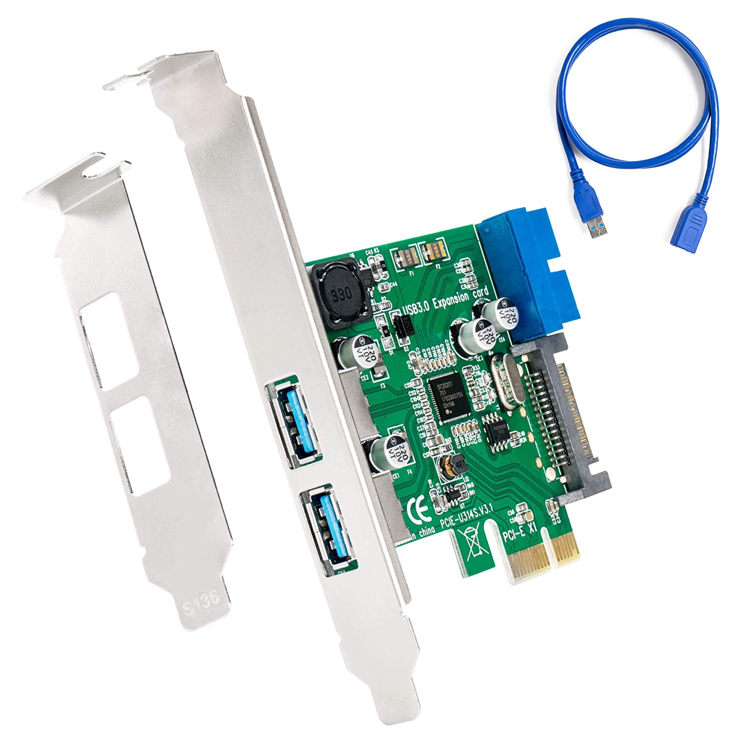 SHINESTAR USB 3.0 PCIe Expansion Card, 5 Port PCIe to USB 3.0 Adapter, 5 Gbps USB 3.0 PCI Express Controller Hub for Desktop PC, Support Windows XP / 7/8 / 10