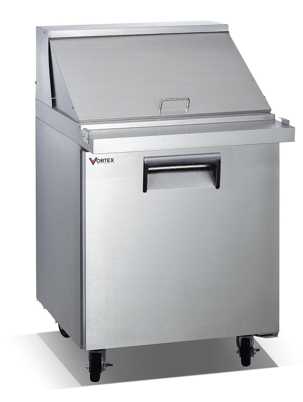 "Vortex Refrigeration Commercial 1 Door 27"", 12 Pan Mega Top Sandwich Prep Table - 7 Cu. Ft."