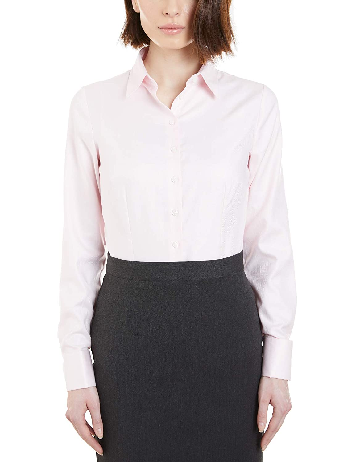 ab96fc486d99 HAWES & CURTIS Womens Executive Twill Fitted Double Cuff Pointed Collar  Shirt: Amazon.co.uk: Clothing