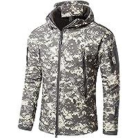 OLOEY Men's Tactical Softshell Fleece Jacket Camouflage Military Hoodie Autumn Winter Outdoor Fleece Jacket Waterproof…
