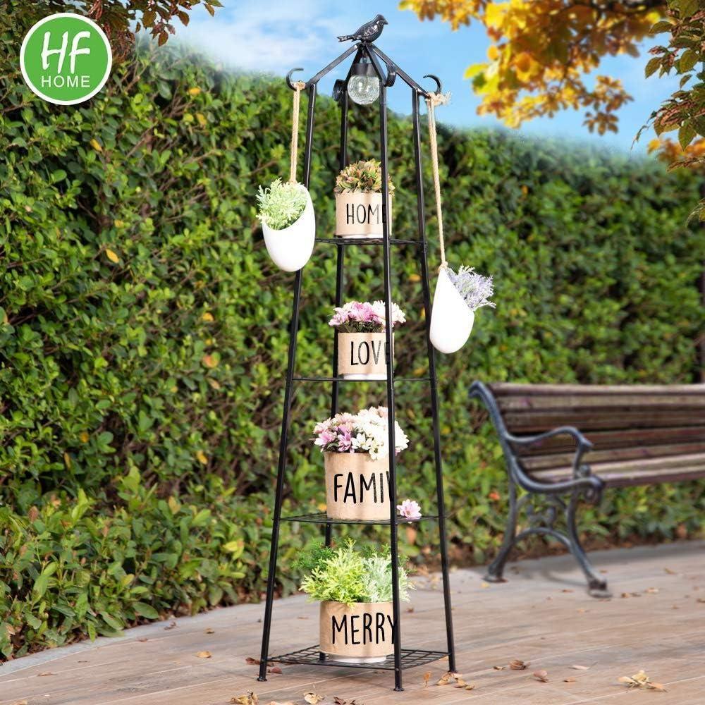 HFHOME 4 Tier Multifunctional Plant Stand Flower Shelf,Ladder-Shaped Shelf Bookcase,with Solar LED Light,Black
