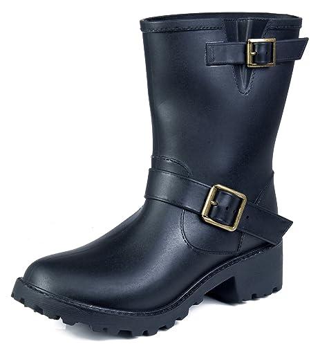 AgeeMi Shoes Mujer Botas Altas Agua Pesca Hebilla Seguridad Impermeable Botas,EuY04 Negro SS(