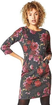 Roman Originals Vestido de mujer con estampado floral para otoño, invierno, elegante, informal, de trabajo, manga 3/4, estilo túnica con estampado floral, largo hasta la rodilla.