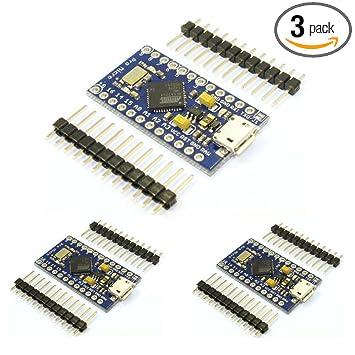 HiLetgo 3pcs Pro Micro Atmega32U4 5V 16MHz Bootloadered IDE Micro USB Pro  Micro Development Board Microcontroller Compatible to Arduino Pro Micro