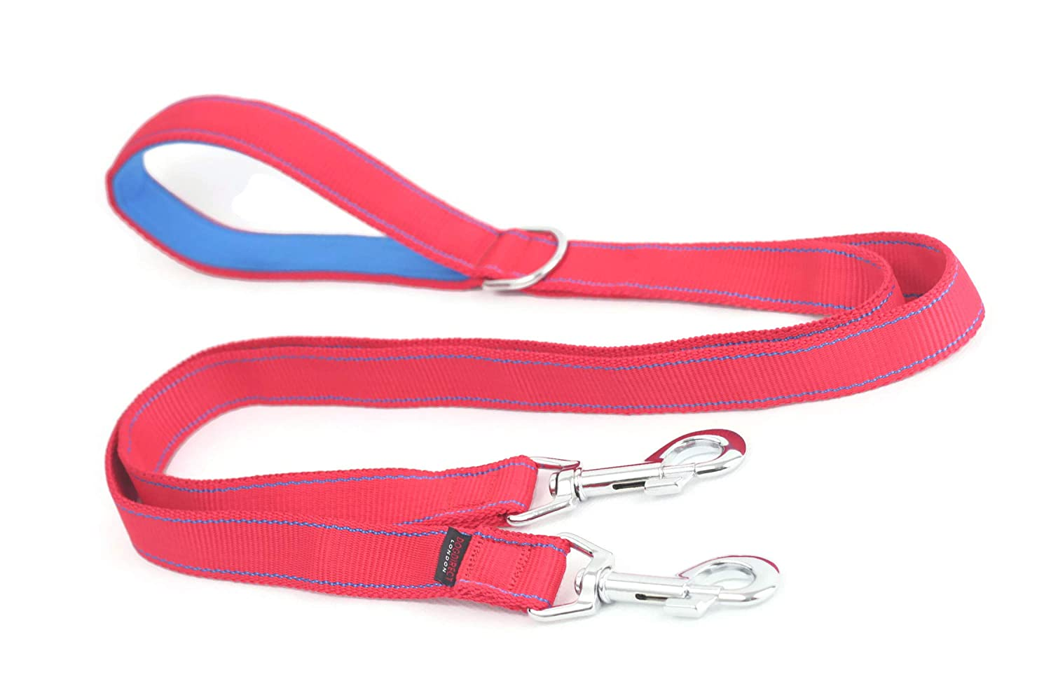 COUPLER DOUBLE DOG LEAD 100cm 1m 40in duplex with Lead DOUBLE with ADDITIONAL NEOPRENE HANDLE STRONG dog's leash   lead splitter HAND MADE, GENUINE DogDirect London Cou1mNeo (Red-bluee) DN6