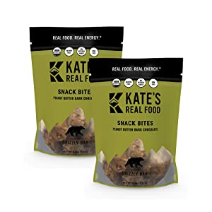 Kate's Real Food Organic Granola Bites, Non-GMO, All-Natural Ingredients, Gluten-Free and Soy-Free Healthy Snack with Natural Flavors, Peanut Butter and Dark Chocolate (Pack of 2)