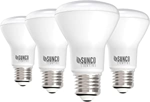 Sunco Lighting 4 Pack BR20 LED Bulb, 7W=50W, Dimmable, 3000K Warm White, E26 Base, Flood Light for Home or Office Space - UL & Energy Star
