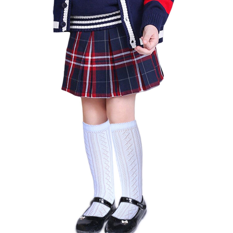 JHosiery Calcetines hasta la rodilla ni/ñas escuela pu/ños festoneados