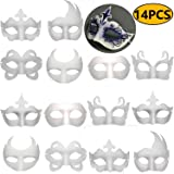 14 PCS DIY White Masks Paper Half Face Masquerade Masks Craft Mardi Gras Mask Plain Mask Paintable Blank Halloween Party…