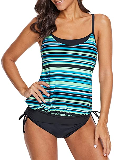 f51a0be469b13 Happy Sailed Women Raceback Striped Print Strappy Tankini Blouson Swim Tops  Sporty Swimwear Blue Small