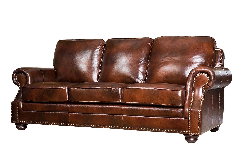 Amazon.com: Abbyson Living Karington Hand Rubbed Leather Sofa: Kitchen U0026  Dining